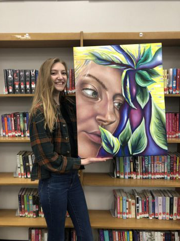 Julia Holland and her self portrait